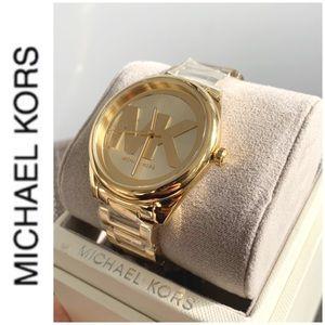 NWT authentic MK slim runaway gold tone watch